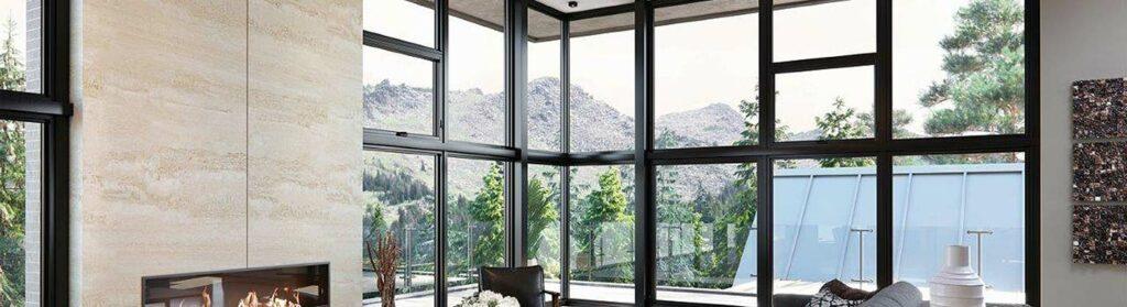 Aluminum Windows with Black Interior Finish